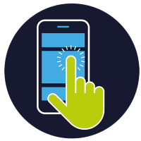 Incontext Research Icon mit handy und hand