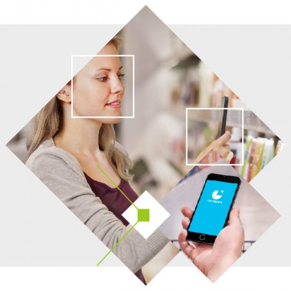 graphic with photographs depicting the digital shopper experience process and insights