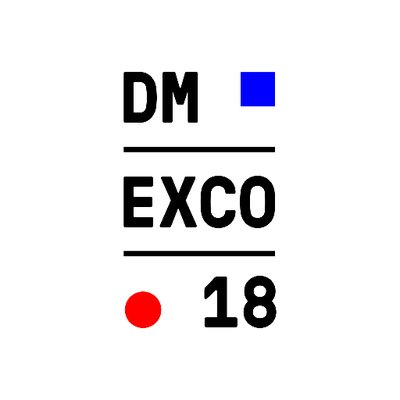 Black red and blue DM EXCO 2018 logo