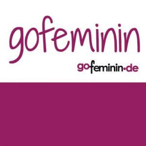 The burgundy and white Gofeminin.de logo